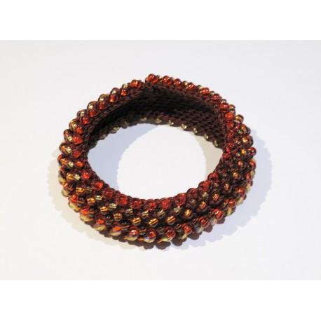 Bransoletka handmade w bursztynowym kolorze