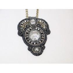 Szaro-srebrny naszyjnik handmade