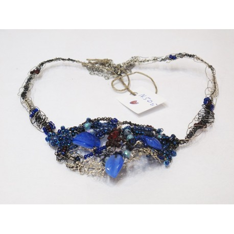 Niebieski naszyjnik handmade